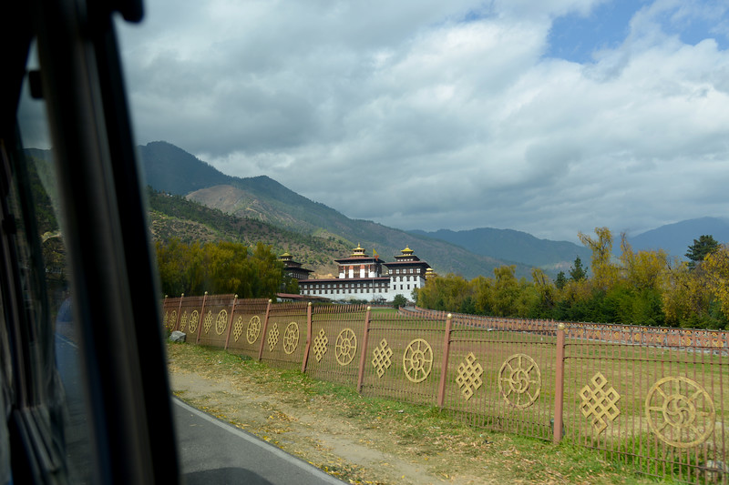Tashichhodzong, seen from near the entrance to the Royal Palace at Thimphu, Bhutan.