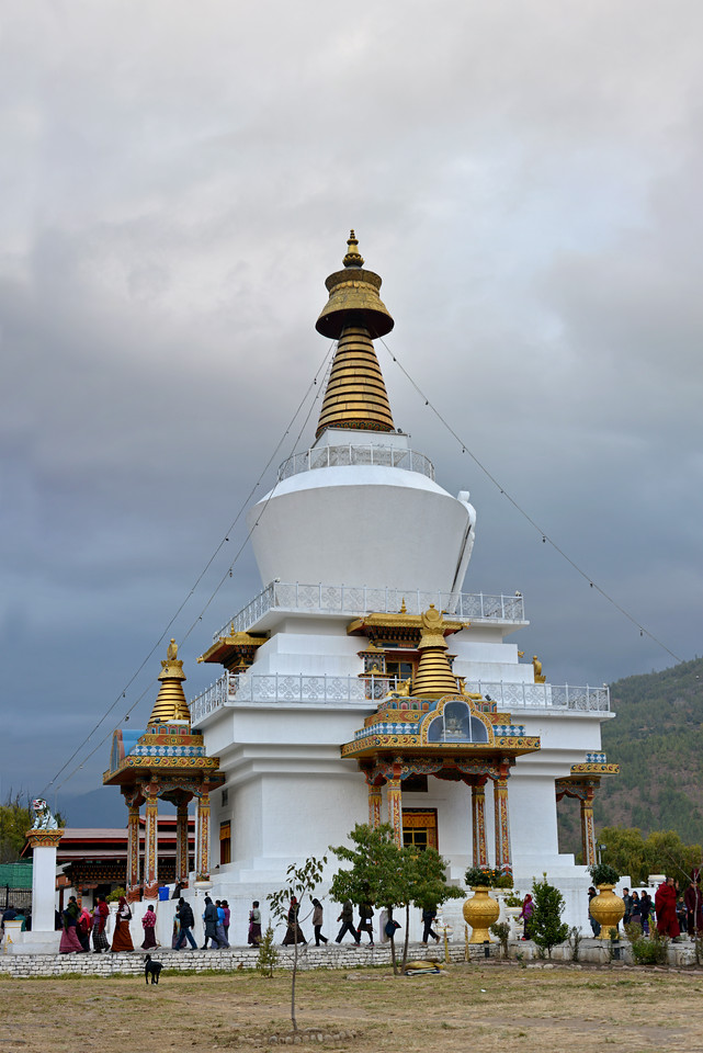 Vertical panoramic image of Memorial Chorten, Chhoten Lam, Thimphu, Bhutan