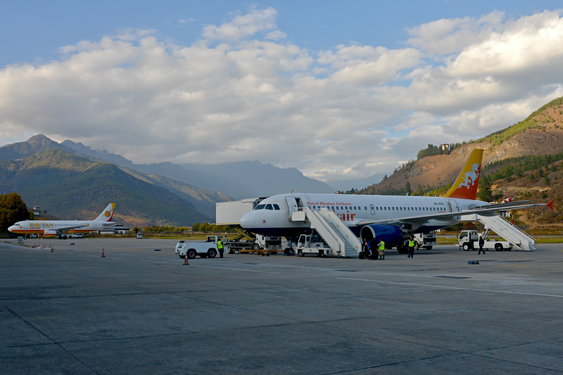 Paro Airport seen on flight from Mumbai, India to Paro, Bhutan on Druk Air flight.