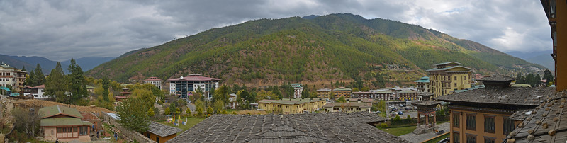 Panoramic view from our room at Taj Tashi, Thimphu, Bhutan.