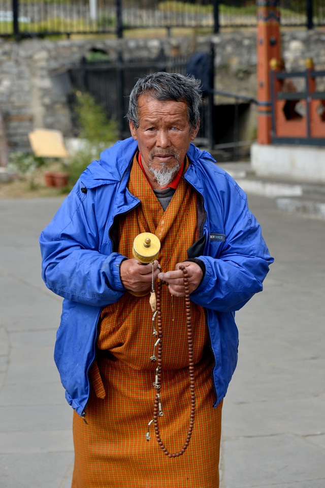 Prayers offered at Memorial Chorten, Chhoten Lam, Thimphu, Bhutan.