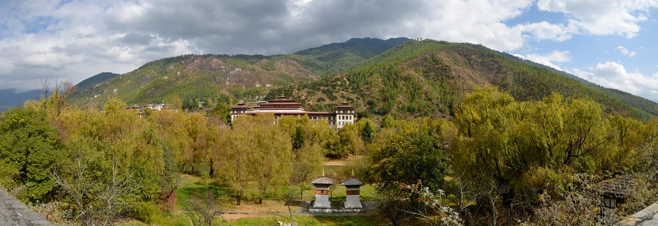Panoramic image of National Assembly of Bhutan, Gyelyong Tshokhang, Thimphu 139, Bhutan seen from Tashichhodzong.
