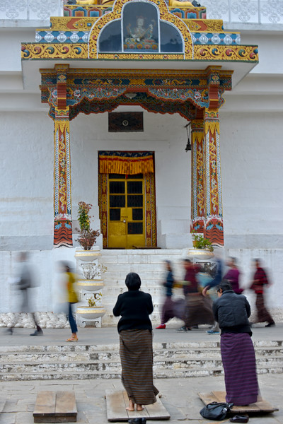 Devotees offer prayers at the Memorial Chorten, Chhoten Lam, Thimphu, Bhutan