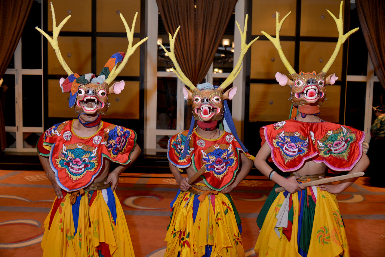 Traditional dance and other cultural programmes at the Hotel Taj Tashi in Thimphu, Bhutan.