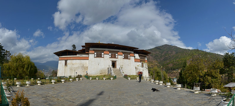 Panoramic view of Semtokha Dzong, Semtokha, Thimphu, Bhutan.<br /> <br /> Simtokha Dzong is a small dzong located about 3 miles south of the Bhutanese capital of Thimphu. Built in 1629 by Ngawang Namgyal, who unified Bhutan, the dzong is the first of its kind built in Bhutan and was recently renovated. It used to house Dzongkha language learning institutes.