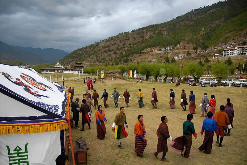 Dance & celebration before the game of archery in Thimpu, Bhutan.