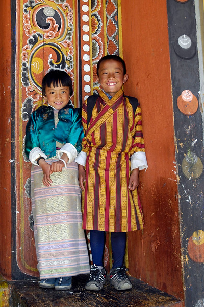 Children in traditional dress in Bhutan.