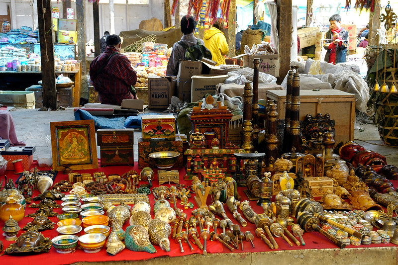 Shops at the local bazaar in Thimphu, Bhutan selling assorted items.