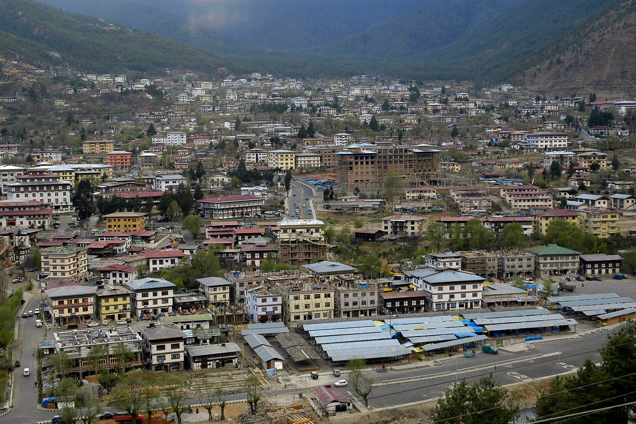 View of the city of Thimphu, the capital of Bhutan.