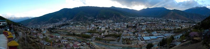 Panoramic view of the capital city of Thimphu, Bhutan