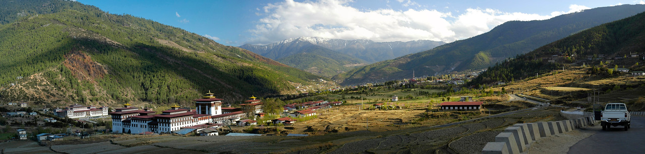 Panoramic view of the Dzong and the mountains at the back as seen in Thimphu, Bhutan
