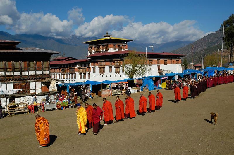 Start of Paro Tsechu Festival of Dance held in Paro, Bhutan.