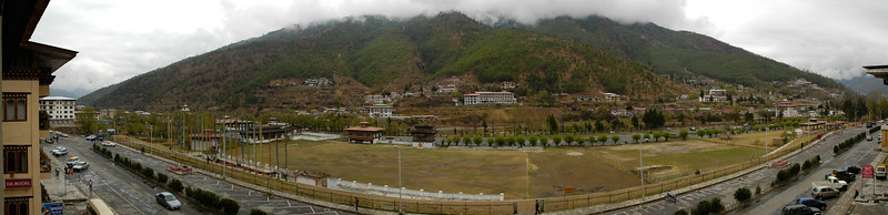 Panoramic view from my hotel in Thimphu, Bhutan