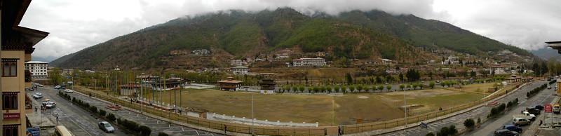 Panoramic view from my hotel in Thimphu, Bhutan