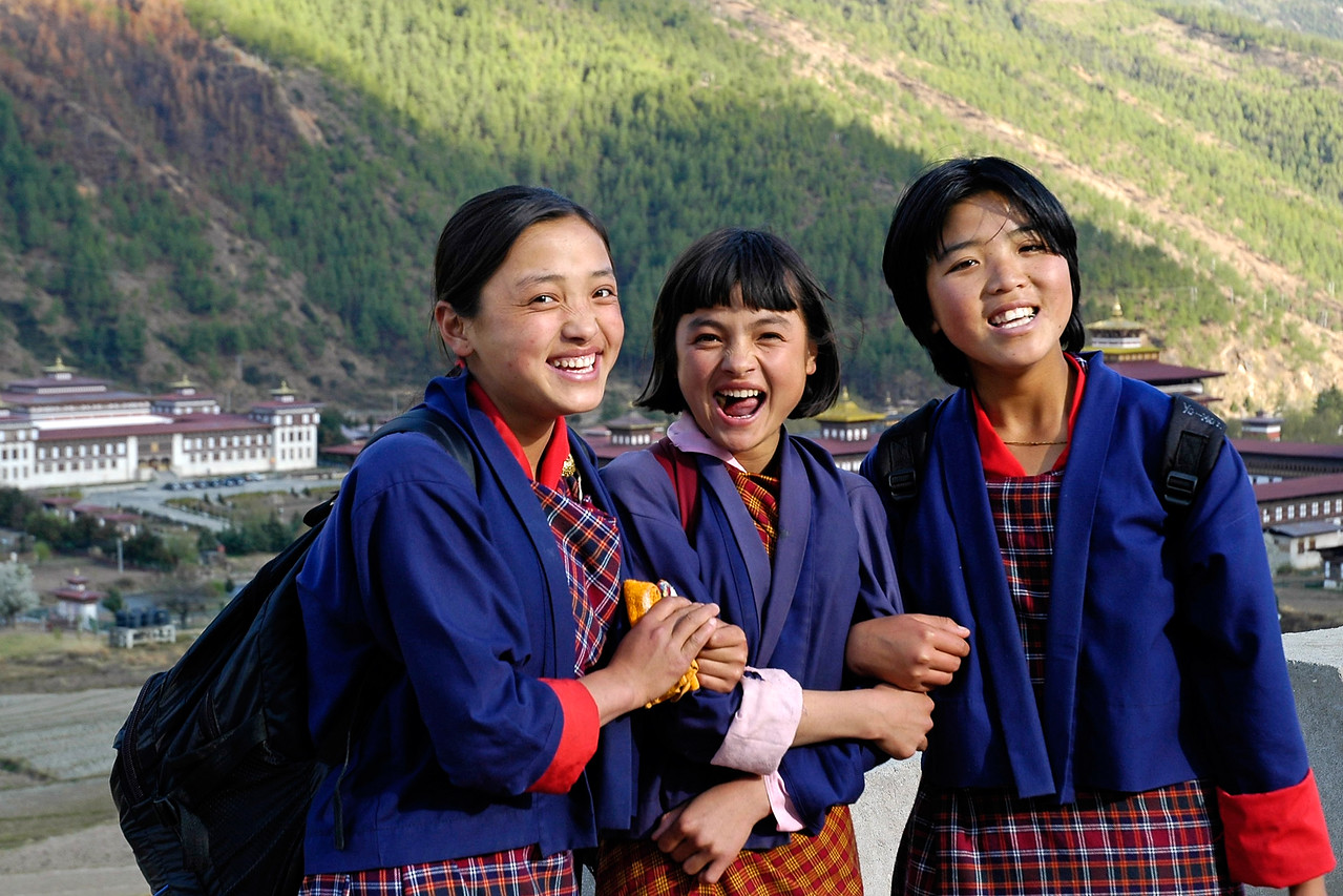 These young girls on their way to school in Thimpu, Bhutan.