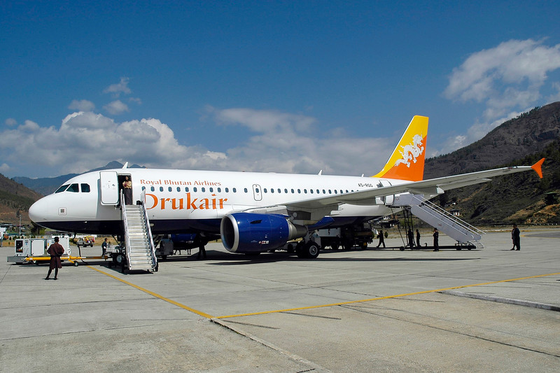 Drukair at Paro Airport, Bhutan. This is the single airport that the country has and Drukair is the national airline.