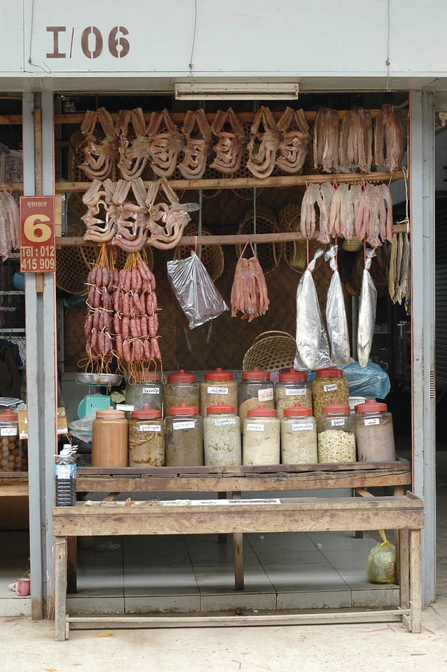 Assorted food on sale in Cambodia.