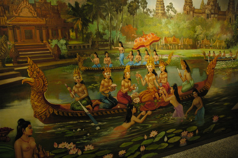 Paintings of earlier days in Angkor National Museum, Siem Reap, Cambodia