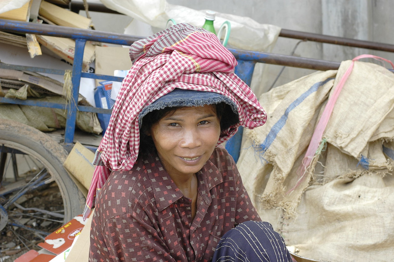 Ragpicker on the streets of Cambodia.