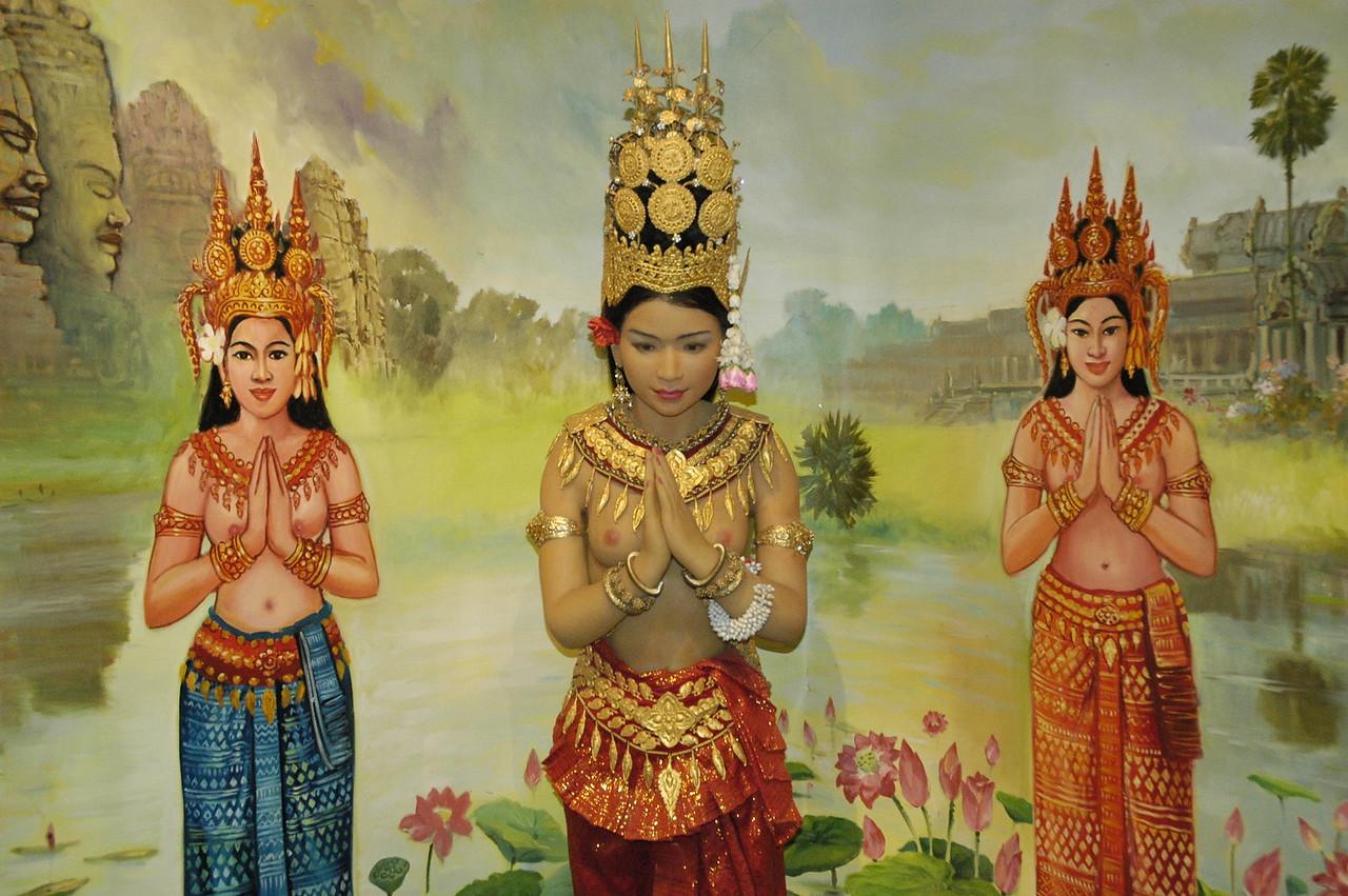 Namaste. Angkor National Museum, Siem Reap, Cambodia