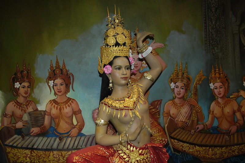 Recreated scene of old times in Angkor National Museum. Siem Reap, Cambodia.