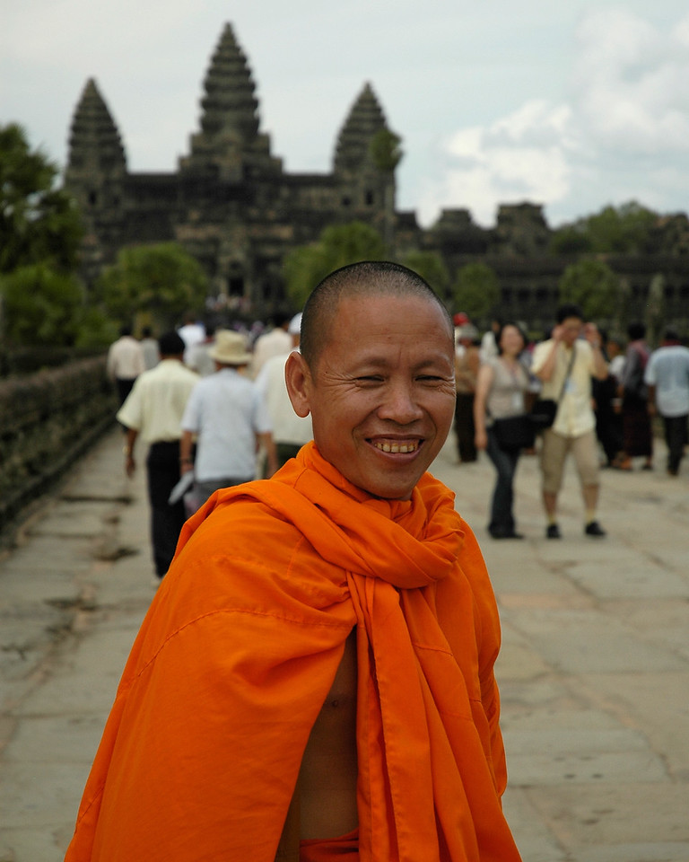 Monk at Angkor Wat Temple Complex at Siem Reap, Cambodia.