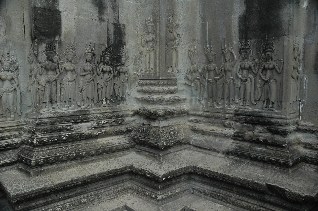 Carvings of apsaras at Angkor Wat Temple Complex at Siem Reap, Cambodia.