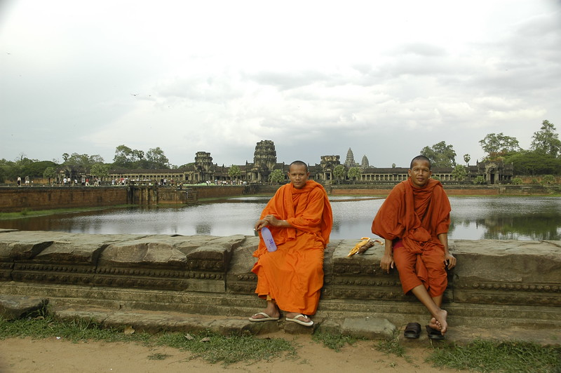 Monks at Angkor Wat Temple Complex, Cambodia.
