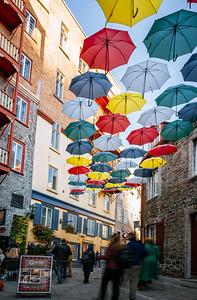Colorful umbrellas in the Cul-de-sac street of Quebec