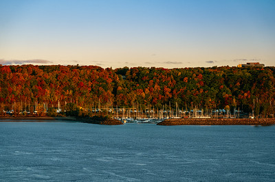 Indian summer colors at the Quebec Yacht Club during sunrise