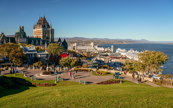 View over the terraces of Château Frontenac and the harbour
