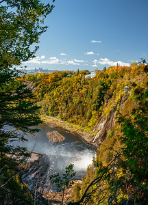 View from Montmorency falls towards Quebec