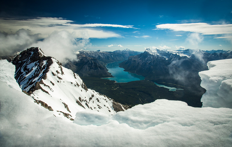 """""""Heights of Banff"""" II, Lakes Minnewanka and Two Jack from the summit of Cascade Mountain, Banff National Park, Alberta, Canada."""