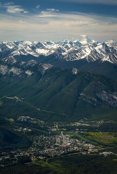"""""""Valleys to Peaks"""" II, the whole elevation range of Banff National Park, from the Banff townsite to Mount Assiniboine, Cascade Mountain, Banff National Park, Alberta, Canada."""