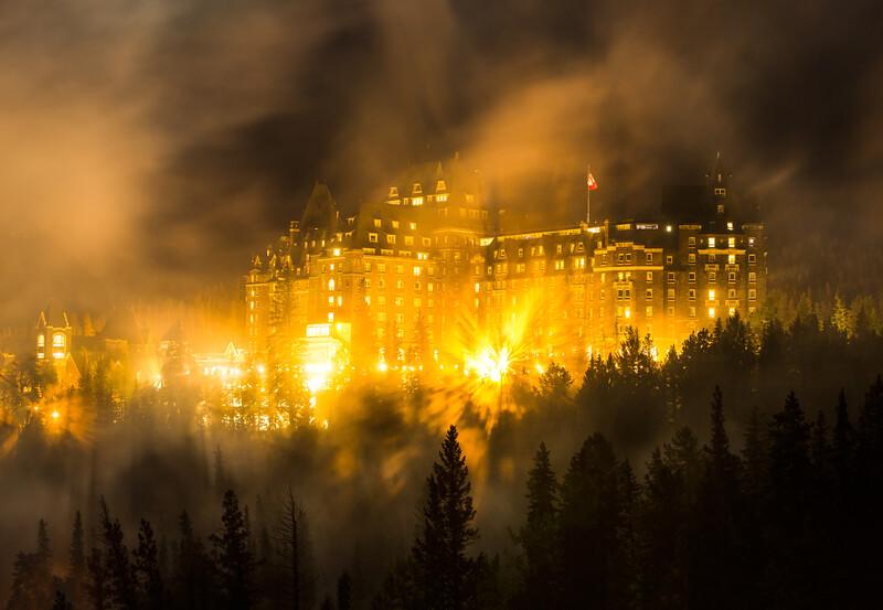 """Backlit Billows"" I<br /> <br /> Banff Springs Hotel, Banff National Park, Alberta, Canada."