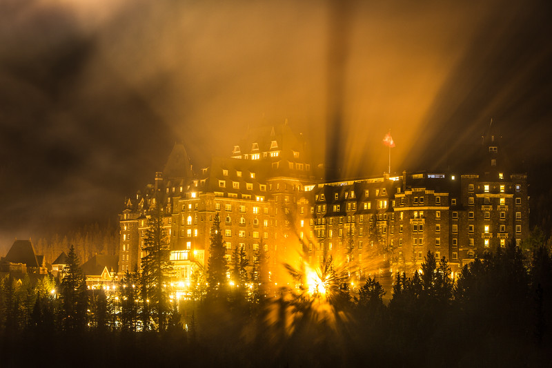 """Backlit Billows"" II<br /> <br /> Banff Springs Hotel, Banff National Park, Alberta, Canada."