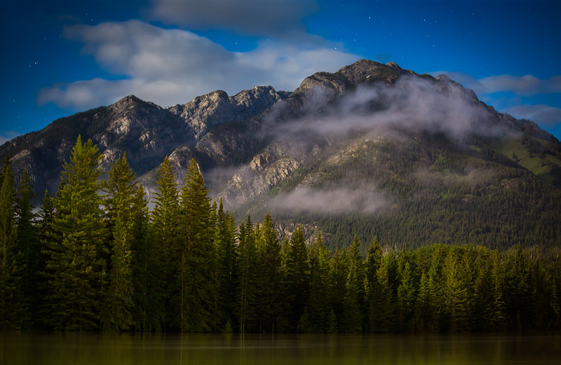 """Moonlit Greenery"", Bow River and Mount Norquay, Banff National Park, Alberta, Canada."
