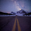 """Road to the Stars"" II  Milky Way above the Icefields Parkway near Bow Lake, Banff National Park, Alberta, Canada."