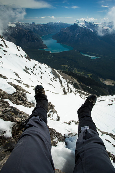 """""""Heights of Banff"""" I, Lakes Minnewanka and Two Jack from the summit of Cascade Mountain, Banff National Park, Alberta, Canada."""