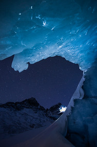 Nighttime skiing, Athabasca Glacier, Banff National Park