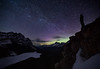 Overlooking Peyo Lake under the aurora, Banff National Park