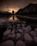 Night time frozen bubbles at Barrier Lake, Kananaskis