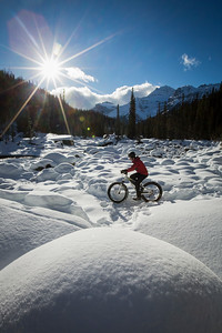 Fat biking at Mistaya Canyon, Banff National Park