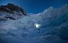 Ice climbing at Atahabasca Icefall at night time