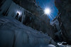 Ice climbing at night time, Haffner Creek Canyon