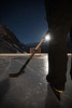 Night time ice hockey at Lake Louise, Banff National Park