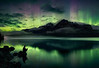 Fisherman under the aurora, Banff National Park