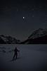 Skiing under Jupiter, Peyto Lake