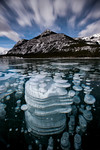 Frozen methane bubbles, Barrier Lake, Kananaskis