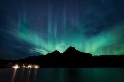 Aurora over Lake Minnewanaka, Banff National Park